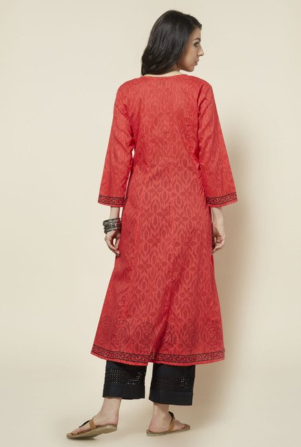 Zudio Red Printed Anarkali Kurta