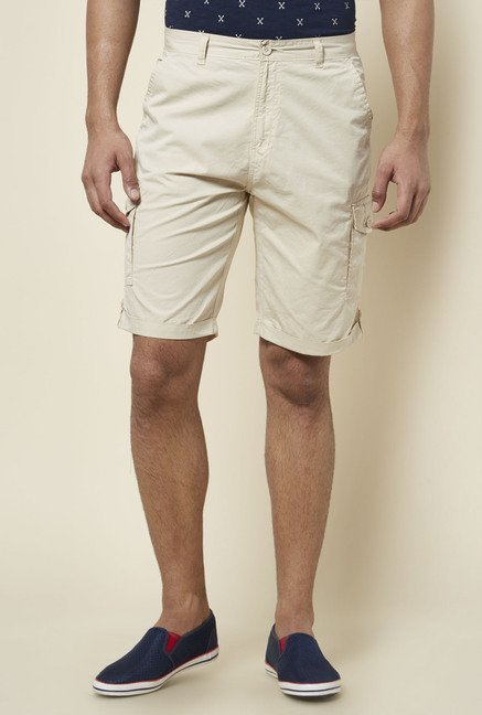 Zudio Beige Solid Cargo Shorts
