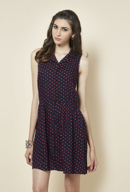 Zudio Navy Heart Printed Dress