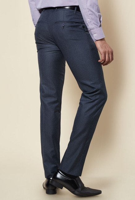 Zudio Navy Solid Slim Fit Trouser
