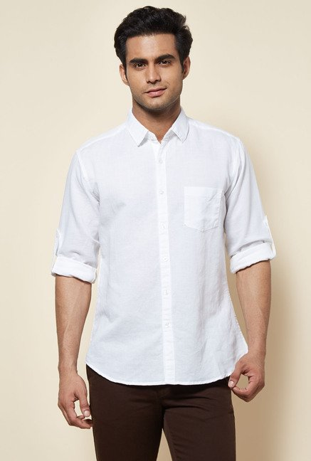 Zudio White Solid Shirt