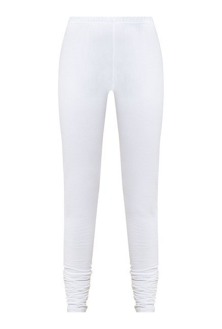 Zudio White Solid Leggings