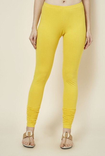 Zudio Yellow Solid Leggings