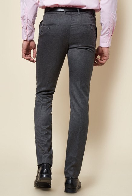 Zudio Grey Solid Flat Front Trouser