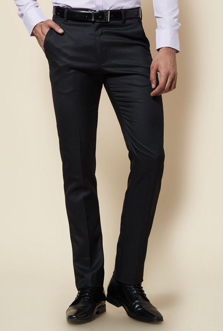 Zudio Navy Solid Flat Front Trouser