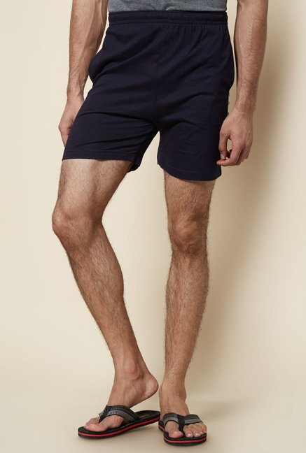Zudio Navy Solid Cotton Shorts