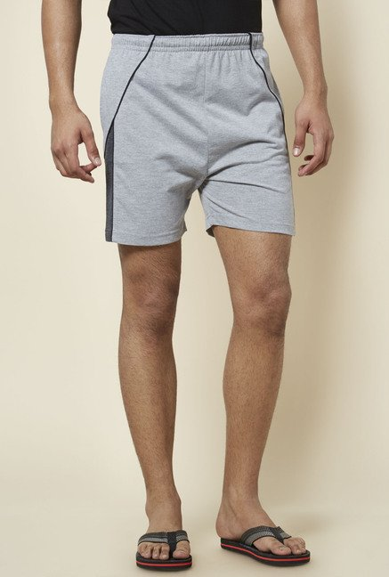 Zudio Grey Solid Cotton Shorts