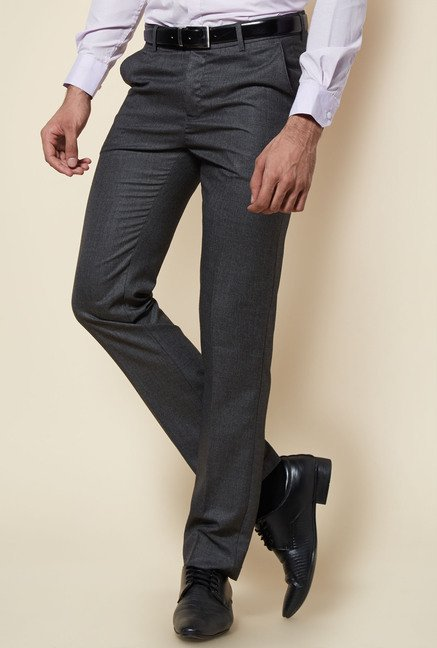 Zudio Dark Grey Flat Front Trouser