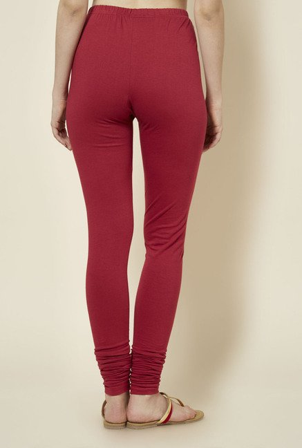 Zudio Maroon Solid Leggings