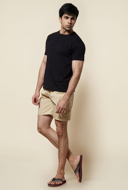 Zudio Beige Solid Cotton Shorts