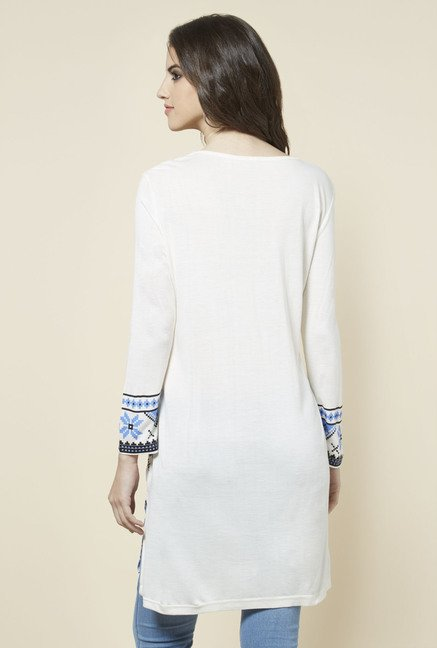 Zudio White Printed Long Kurta