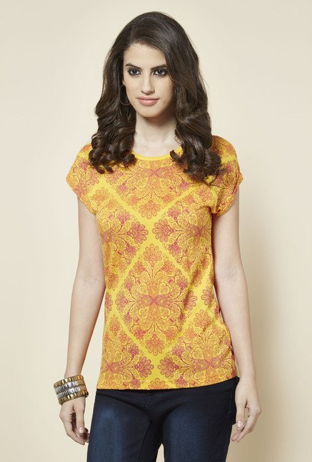 Zudio Yellow Printed Slim Fit Top