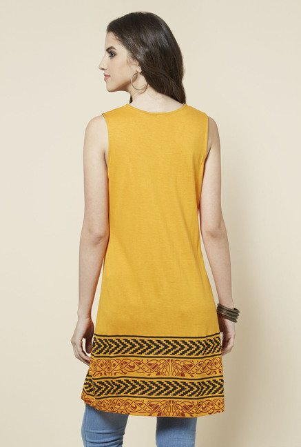 Zudio Yellow Sleeveless Printed Kurta