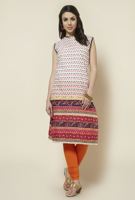 Zudio Red Sleeveless Printed Kurta