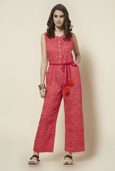 Zudio Pink Block Printed Jumpsuit