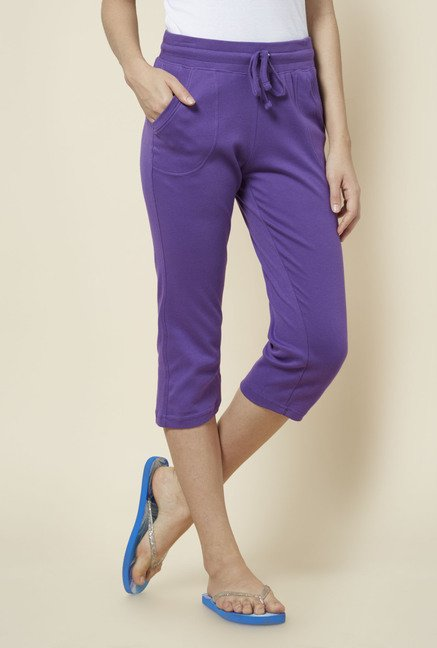 Zudio Purple Solid Capris