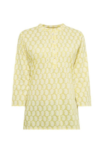 Zudio Yellow Printed Kurti