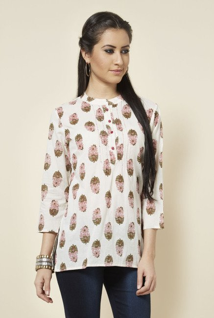 Zudio Off White Floral Printed Kurti