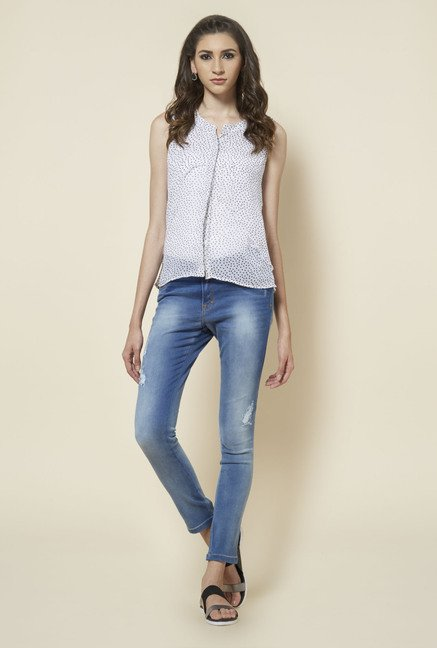 Zudio White Heart Printed Blouse