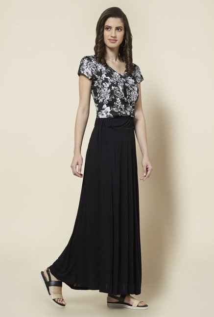Zudio Black Solid Maxi Skirt