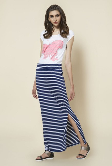 Zudio Navy Stripes Maxi Skirt