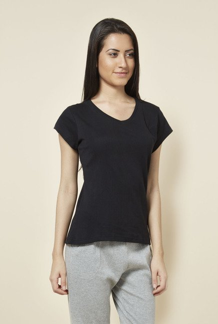 Zudio Black Solid V Neck T Shirt
