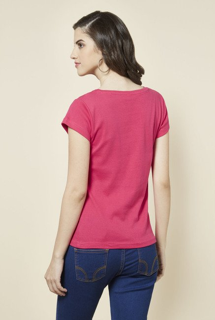 Zudio Pink Solid V Neck T Shirt