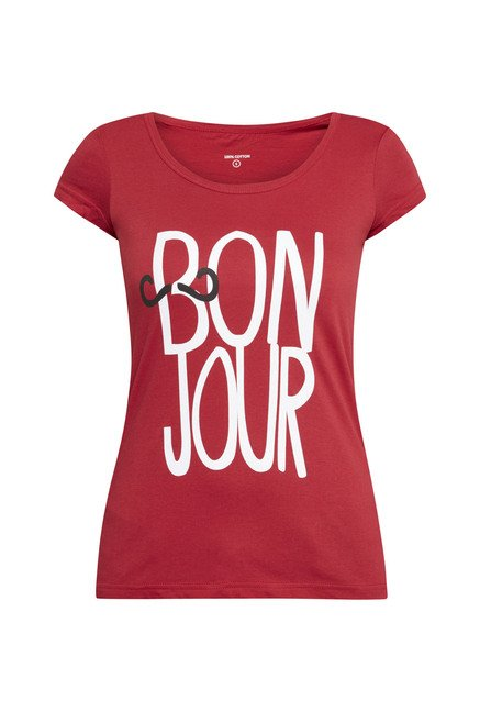 Zudio Red Bonjour Printed T Shirt