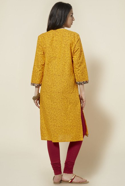 Zudio Yellow Printed Kurta
