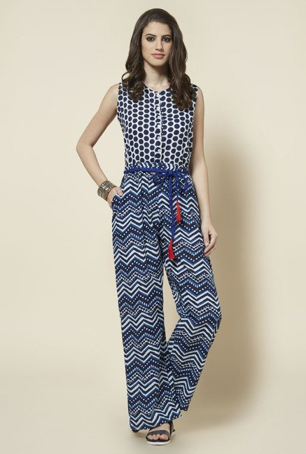 Zudio Indigo Block Printed Jumpsuit