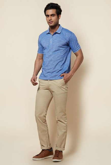 Zudio Indigo Solid Polo T Shirt
