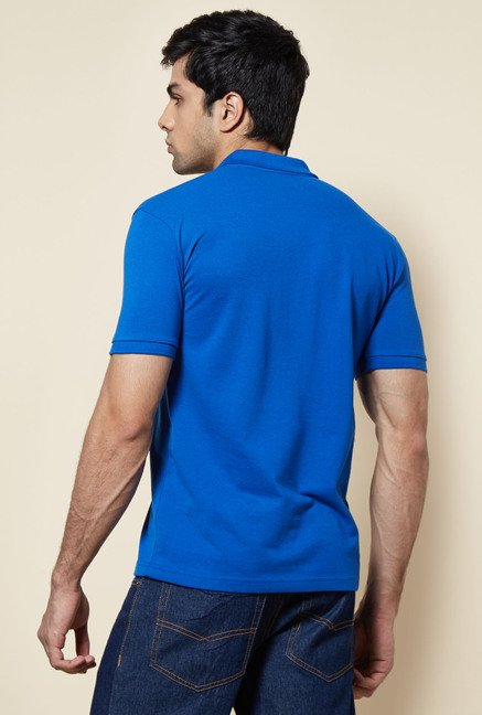 Zudio Blue Solid Polo T Shirt
