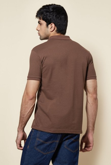 Zudio Brown Solid Polo T Shirt