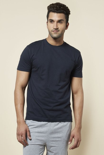 Zudio Navy Crew Neck Solid T Shirt