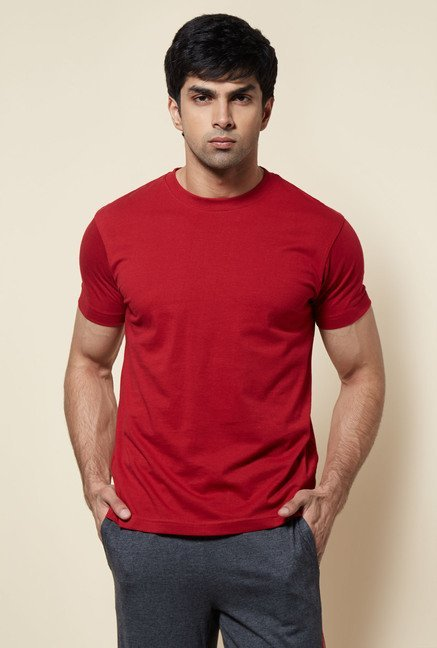 Zudio Red Crew Neck Solid T Shirt