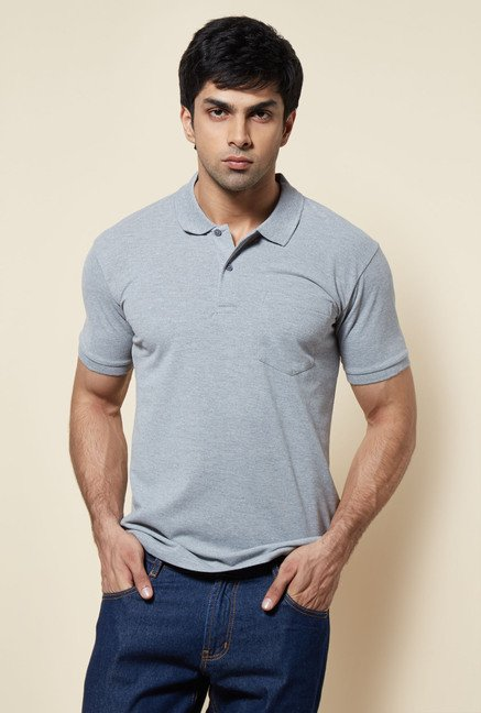 Zudio Grey Solid Polo T Shirt