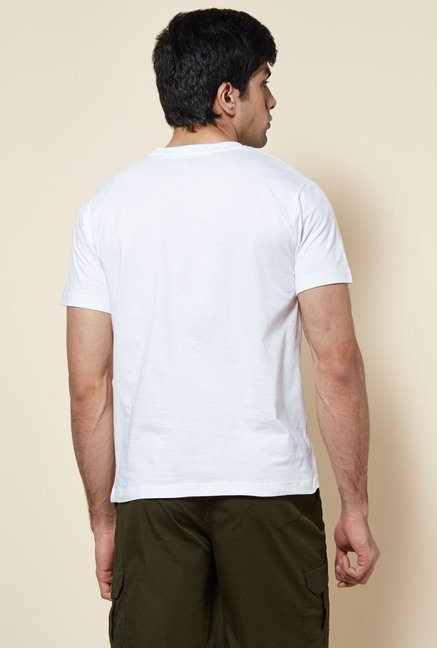 Zudio White Crew Neck Solid T Shirt