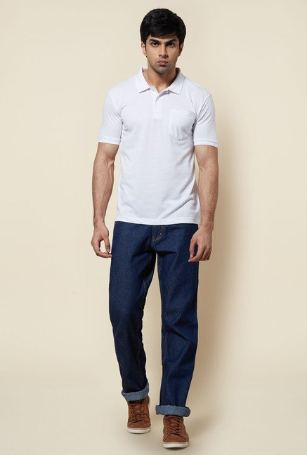 Zudio White Solid Polo T Shirt