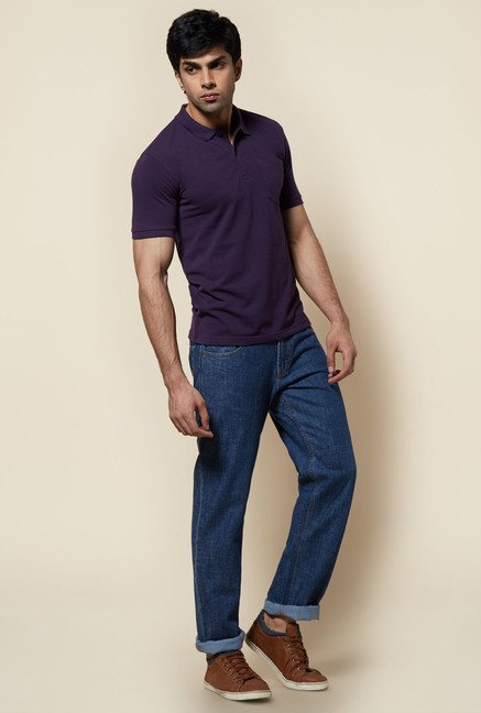Zudio Purple Solid Polo T Shirt