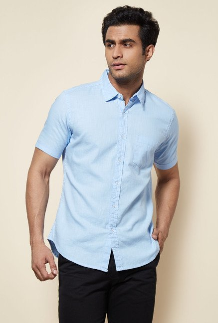 Zudio Sky Blue Solid Shirt
