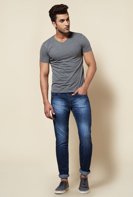 Zudio Grey Solid V Neck T Shirt