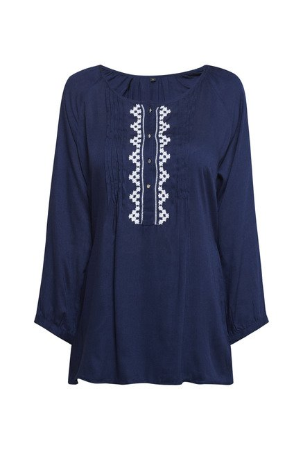 Zudio Navy Embroidered Blouse