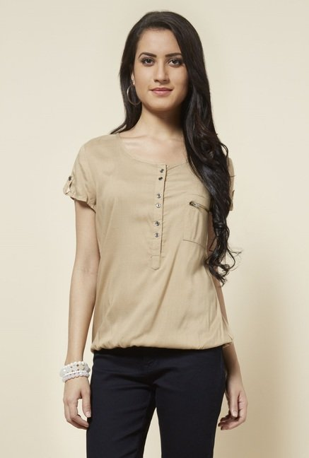 Zudio Taupe Solid Blouse