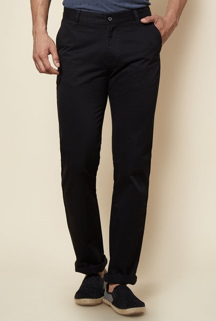 Zudio Black Solid Trouser