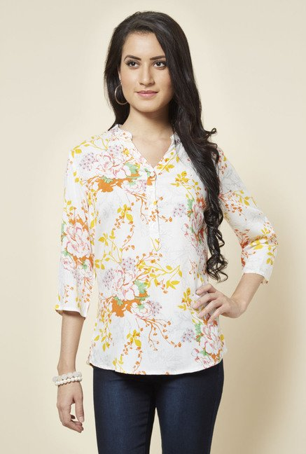 Zudio White Gabby Floral Printed Blouse