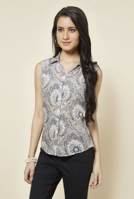 Zudio Beige Paisley Printed Top