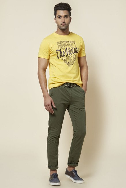 Zudio Yellow Victors Print T Shirt