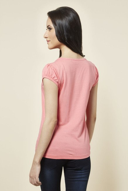 Zudio Coral Printed T Shirt
