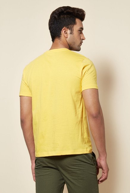 Zudio Yellow Stamp Print T Shirt