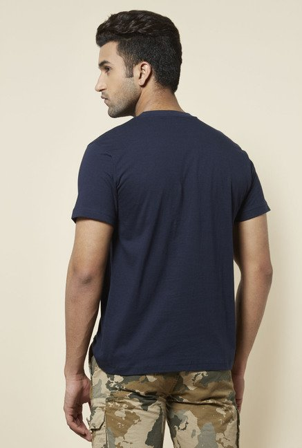 Zudio Navy Stamp Print T Shirt